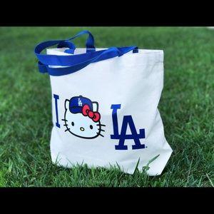 Hello Kitty + LA Dodgers canvas tote bag